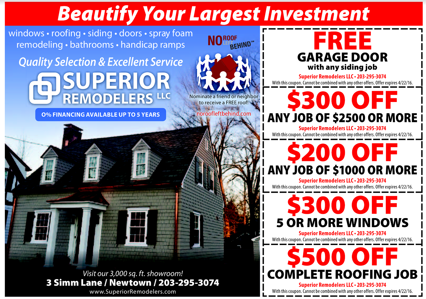 Superior Remodelers April Specials