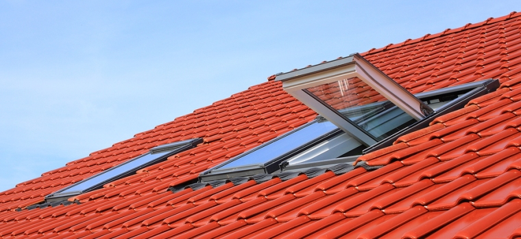Attic windows on a tiled roof