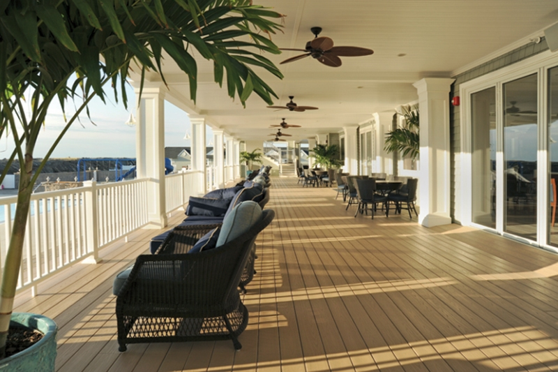 A deck in a commercial property