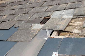 Roof shingles damaged by a hailstorm