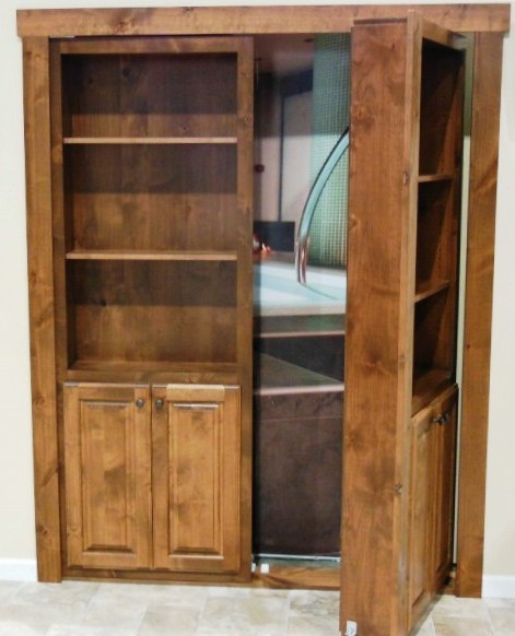 An empty hidden door disguised as a bookshelf