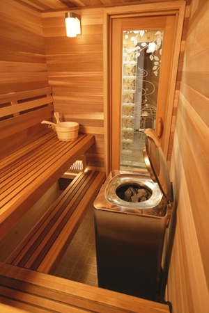 Interior of a Finnish sauna with heater imported from Finland